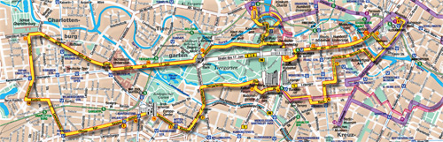 Routenverlauf der City Circle Tour YELLOW + PURPLE mit Haltepunkten.